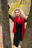 Attractive young woman in a autumn fashion shoot. Beautiful fashionable young girl with red scarf in the park. Blonde women Royalty Free Stock Photography
