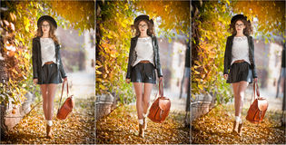 Attractive young woman in an autumnal shot outdoors. Beautiful fashionable school girl with leather backpack posing in park Stock Photography
