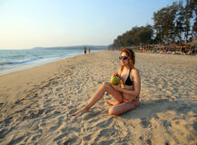 Attractive young woman on beach Royalty Free Stock Photo