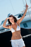 Attractive young woman in bikini on sunny day Stock Photos