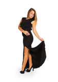 Attractive young woman in black dress Royalty Free Stock Images