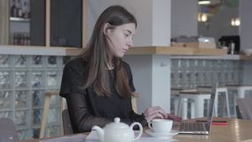 Attractive young woman in black dress sitting at the table in modern cafe working on her netbook. White teapot and cup. Attractive young woman in black dress stock video footage