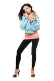 Attractive young woman in a black leggings Royalty Free Stock Images