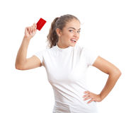 Attractive Young  Woman with Blank Red Credit Card. At the White Background Stock Photo