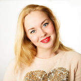 Attractive young woman with blond hair and red lips Royalty Free Stock Photo