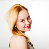 Attractive young woman with blond hair and red lips Royalty Free Stock Photos