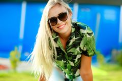 Attractive young woman, blonde with long hair and beautiful smile royalty free stock images