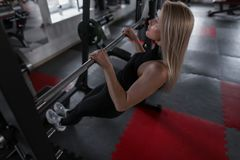 Attractive young woman blonde in stylish black sportswear engaged in fitness on a metal simulator. Girl goes in for sports. In the gym. Healthy lifestyle stock image
