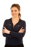 Attractive young woman in blue shirt isoalted over white Royalty Free Stock Photo