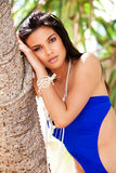 Attractive Young Woman in a Blue Swimsuit stock image