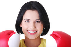 Attractive young woman with boxing gloves. Stock Image