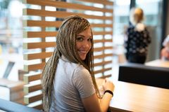 Attractive young woman with braided hair stock photos