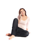 Attractive young woman calling someone Stock Images