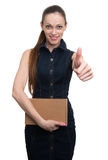 Attractive young woman with cardboard box Royalty Free Stock Photography