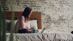 Attractive young woman in casual clothes is typing on laptop and smiling while sitting on bed in nice loft style bedroom. At home. Modern technology and stock video