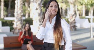 Attractive young woman chatting on a mobile. Attractive young woman standing in an urban square chatting on a mobile phone with a beaming smile of pleasure stock footage