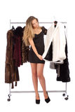 Attractive young woman choosing a fur coat from the hanger Stock Photography