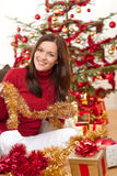 Attractive young woman with Christmas decoration Stock Photo