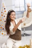 Attractive young woman with christmas decoration royalty free stock photo