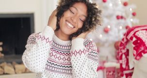 Attractive young woman in Christmas winter fashion stock footage