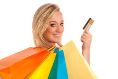 Attractive young woman with colorful shopping bags Stock Photography