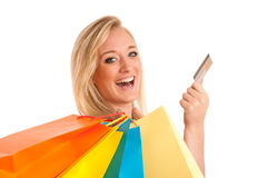Attractive young woman with colorful shopping bags Stock Photos
