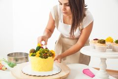 Confectioner prepare cake Royalty Free Stock Photo