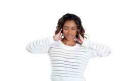 Attractive young woman covering her ears Royalty Free Stock Photos