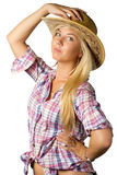 Attractive young woman in cowboy dress and hat. On white royalty free stock photos