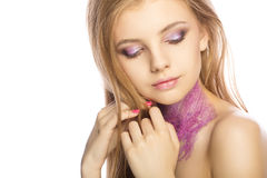 Attractive young woman with creative makeup posing with closed e. Yes. Studio shot Stock Photo