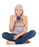Attractive young woman with cup of coffee Royalty Free Stock Photos