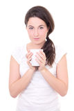 Attractive young woman with cup of coffee isolated on white Stock Image
