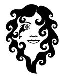 An attractive young woman with curly hair. Beautiful woman's face. Eye in the form of a fish. Black-and-white logo Royalty Free Stock Photography