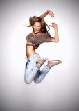 Attractive young woman dancing, Royalty Free Stock Photos