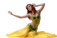 Attractive young woman dancing belly-dance Royalty Free Stock Photos