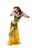 Attractive young woman dancing belly-dance Stock Photos