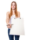 Attractive young woman doing survey Royalty Free Stock Photo