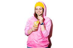 Attractive young woman drinking alcoholic cocktail Stock Photo