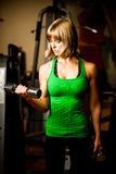 Attractive young woman is engaged in fitness sport club working Royalty Free Stock Photos
