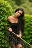 Attractive young woman enjoying her time outside in park Royalty Free Stock Photography