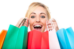Attractive Young Woman Excited with Shopping Stock Photo