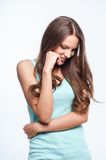 Attractive young woman is expressing her shyness Royalty Free Stock Photography