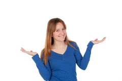 Attractive young woman with extensed arms smiling at camera. Isolated Royalty Free Stock Image