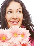 Attractive young woman face with flowers Royalty Free Stock Photo