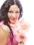 Attractive young woman face with flowers Stock Images