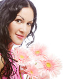 Attractive young woman face with flowers Royalty Free Stock Photography