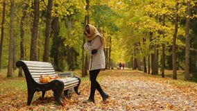 Attractive young woman feels cold while standing near some bench in autumn park. Beautiful girl stands up from a wooden bench in a picturesque autumn park stock footage