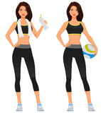 Attractive young woman in fitness sporstwear. Holding a water bottle or ball stock illustration
