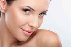Attractive young woman is flirting with smile Royalty Free Stock Photos