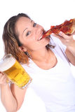 Attractive Young Woman With Food and Drink Royalty Free Stock Image